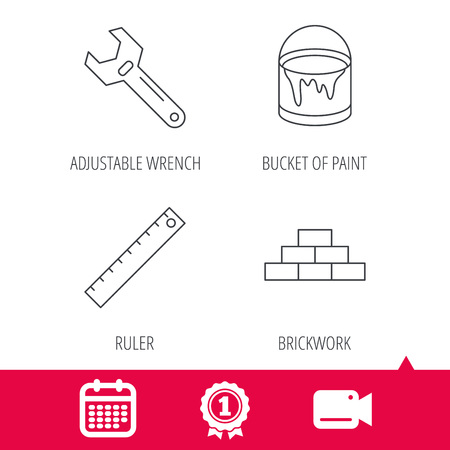 adjustable: Achievement and video cam signs. Brickwork, measurement and adjustable wrench icons. Bucket of paint linear sign. Calendar icon. Vector