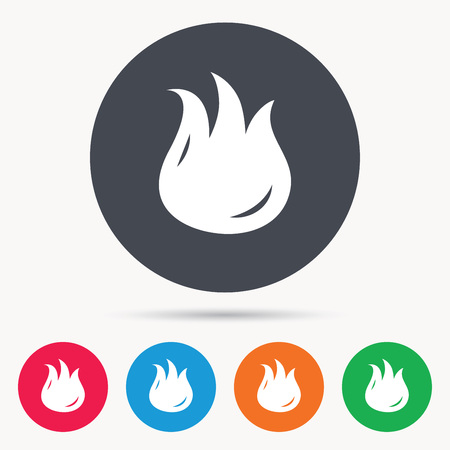 dangerous work: Fire icon. Blazing bonfire flame symbol. Colored circle buttons with flat web icon. Vector