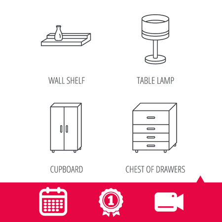 video wall: Achievement and video cam signs. Table lamp, cupboard and wall shelf icons. Chest of drawers linear sign. Calendar icon. Vector