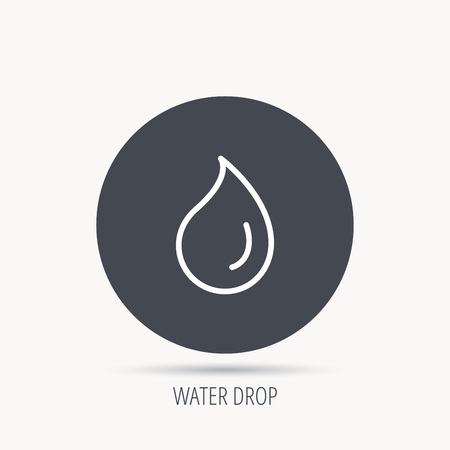 condensation: Water drop icon. Liquid sign. Freshness, condensation or washing symbol. Round web button with flat icon. Vector