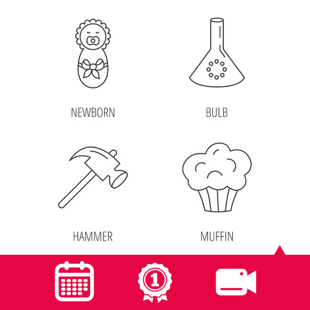 analyses: Achievement and video cam signs. Newborn, muffin and lab bulb icons. Hammer linear sign. Calendar icon. Vector Illustration
