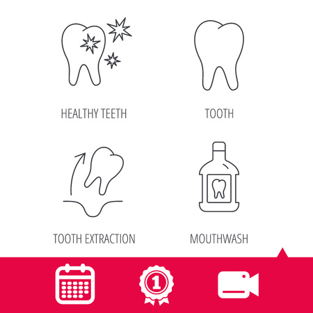 tooth extraction: Achievement and video cam signs. Tooth, mouthwash and healthy teeth icons. Tooth extraction linear sign. Calendar icon. Vector Illustration