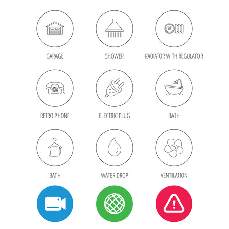 liquidizer: Ventilation, heat radiator and electric plug. Retro phone, shower and garage linear signs. Water drop, bath towel icons. Video cam, hazard attention and internet globe icons. Vector
