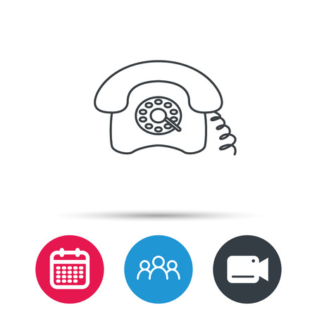telephone icons: Retro phone icon. Old telephone sign. Group of people, video cam and calendar icons. Vector Illustration
