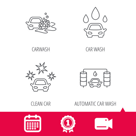 washing windows: Achievement and video cam signs. Car wash icons. Automatic cleaning station linear signs. Clean car, automatic carwash flat line icons. Calendar icon. Vector