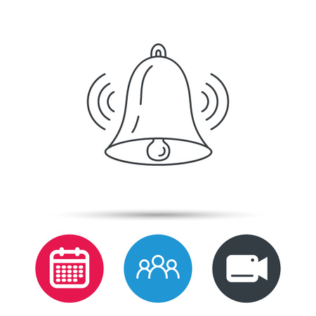 handbell: Ringing bell icon. Sound sign. Alarm handbell symbol. Group of people, video cam and calendar icons. Vector