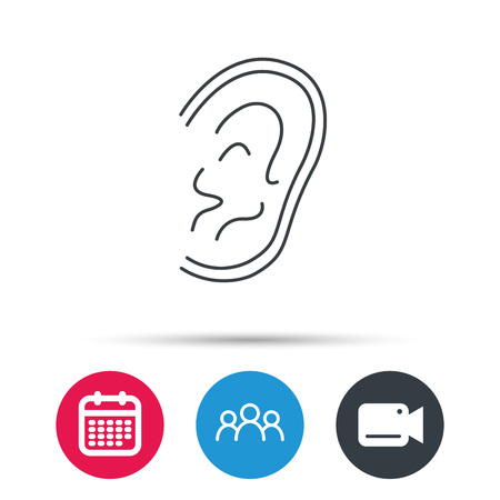 otorhinolaryngology: Ear icon. Hear or listen sign. Deaf human symbol. Group of people, video cam and calendar icons. Vector