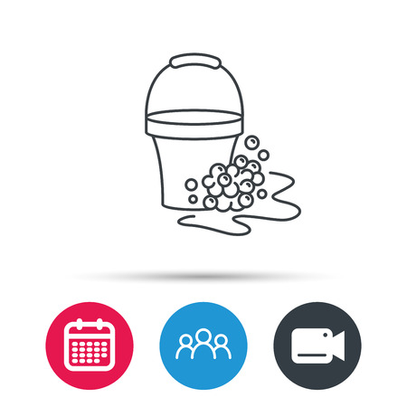 soapy: Soapy cleaning icon. Bucket with foam and bubbles sign. Group of people, video cam and calendar icons. Vector Illustration