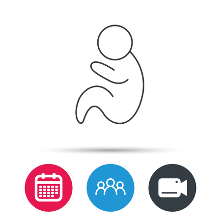 pediatrics: Baby infant icon. Pediatrics sign. Newborn child symbol. Group of people, video cam and calendar icons. Vector