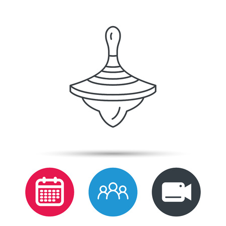 spinning top: Whirligig icon. Baby toy sign. Spinning top symbol. Group of people, video cam and calendar icons. Vector