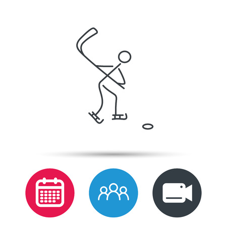 professional sport: Ice hockey icon. Professional sport game sign. Group of people, video cam and calendar icons. Vector