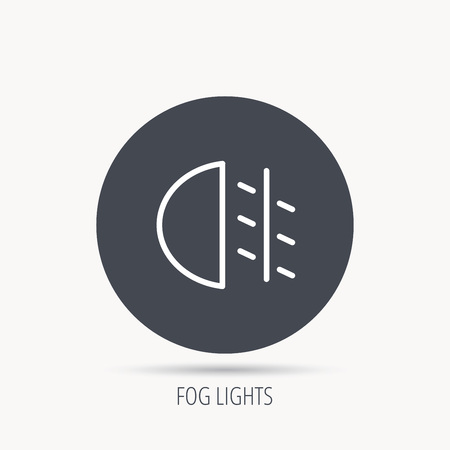 halogen: Fog lights icon. Car beam sign. Round web button with flat icon. Vector