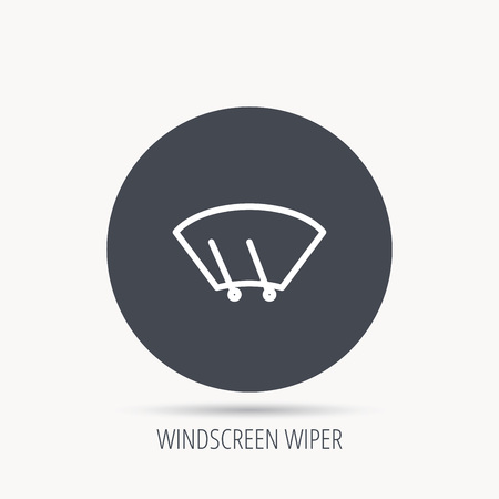 wipers: Windscreen wipers icon. Windshield sign. Round web button with flat icon. Vector Illustration