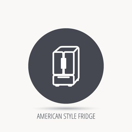 frig: American fridge icon. Refrigerator sign. Round web button with flat icon. Vector