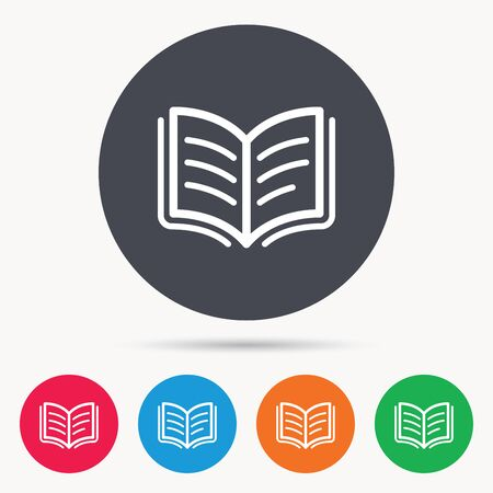 reading app: Book icon. Study literature sign. Education textbook symbol. Colored circle buttons with flat web icon. Vector Illustration