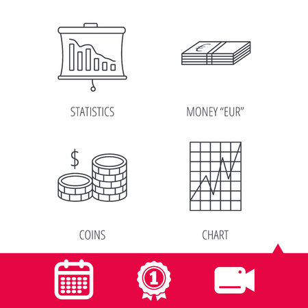 deceleration: Achievement and video cam signs. Chart, cash money and statistics icons. Coins linear sign. Calendar icon. Vector