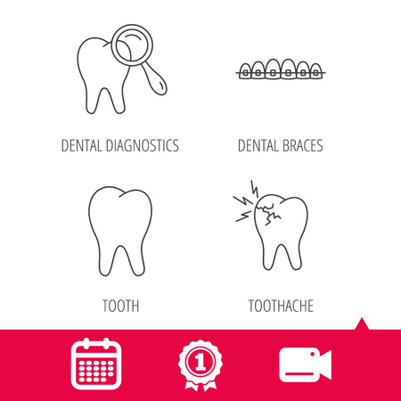 toothache: Achievement and video cam signs. Tooth, dental braces and toothache icons. Dental diagnostics linear sign. Calendar icon. Vector Illustration