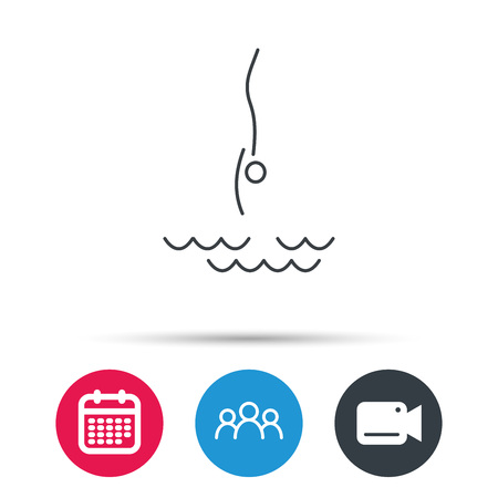 jumping into water: Diving icon. Jumping into water sign. Professional swimming sport symbol. Group of people, video cam and calendar icons. Vector Illustration