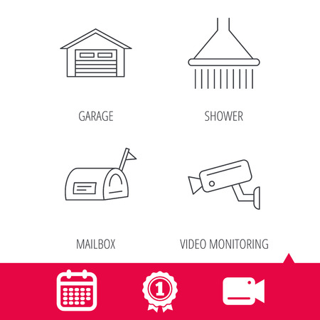 Achievement and video cam signs. Mailbox, video monitoring and garage icons. Shower linear sign. Calendar icon. Vector Illustration