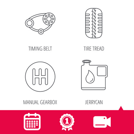 timing belt: Achievement and video cam signs. Wheel, manual gearbox and timing belt icons. Fuel jerrycan, manual transmission linear signs. Calendar icon. Vector