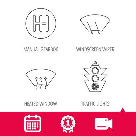heated: Achievement and video cam signs. Traffic lights, manual gearbox and wiper icons. Heated window, manual transmission linear signs. Washing window icon. Calendar icon. Vector