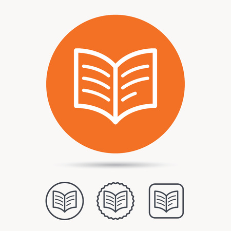 reading app: Book icon. Study literature sign. Education textbook symbol. Orange circle button with web icon. Star and square design. Vector Illustration