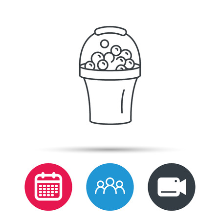 soapy: Bucket with foam icon. Soapy cleaning sign. Group of people, video cam and calendar icons. Vector