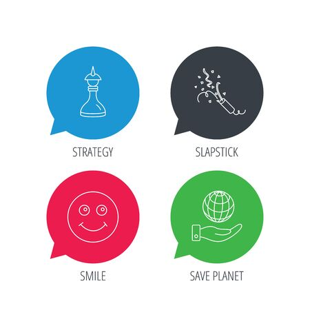 shah: Colored speech bubbles. Save planet, slapstick and strategy icons. Smile linear sign. Flat web buttons with linear icons. Vector Illustration