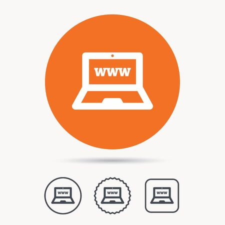 ultrabook: Computer icon. Notebook or laptop pc symbol. Orange circle button with web icon. Star and square design. Vector Illustration