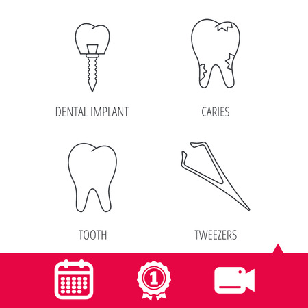 tweezers: Achievement and video cam signs. Dental implant, caries and tooth icons. Tweezers linear sign. Calendar icon. Vector Illustration