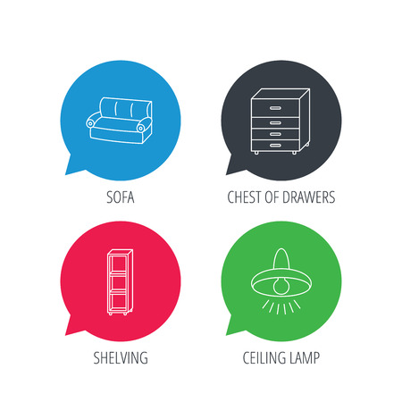 chest of drawers: Colored speech bubbles. Sofa, ceiling lamp and shelving icons. Chest of drawers linear sign. Flat web buttons with linear icons. Vector Illustration
