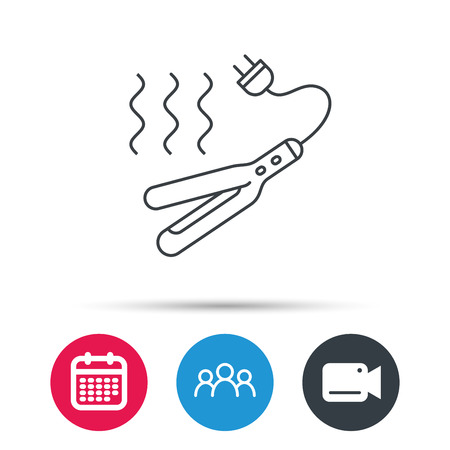 Curling iron icon. Hairstyle electric tool sign. Group of people, video cam and calendar icons. Vector Illustration