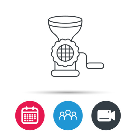 meat grinder: Meat grinder icon. Manual mincer sign. Kitchen tool symbol. Group of people, video cam and calendar icons. Vector Illustration