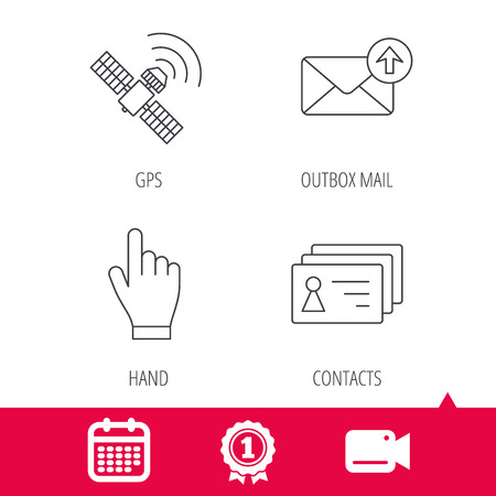 outbox: Achievement and video cam signs. Hand pointer, contacts and gps satellite icons. Outbox mail linear sign. Calendar icon. Vector Illustration