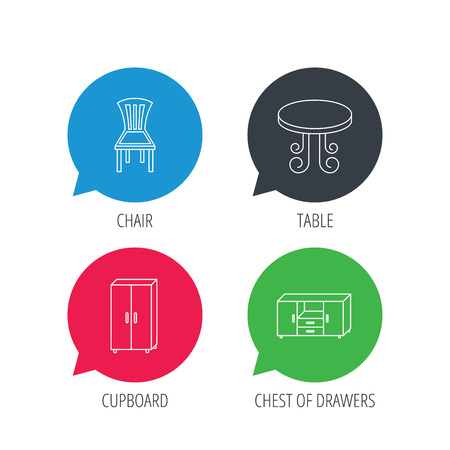 chat room: Colored speech bubbles. Chair, table and cupboard icons. Chest of drawers linear sign. Flat web buttons with linear icons. Vector