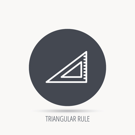straightedge: Triangular ruler icon. Straightedge sign. Geometric symbol. Round web button with flat icon. Vector