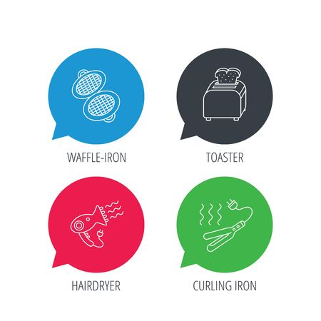 bread maker: Colored speech bubbles. Curling iron, hair-dryer and toaster icons. Waffle-iron linear sign. Flat web buttons with linear icons. Vector