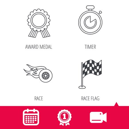 pits: Achievement and video cam signs. Race flag, winner medal and timer icons. Wheel on fire linear sign. Calendar icon. Vector Illustration