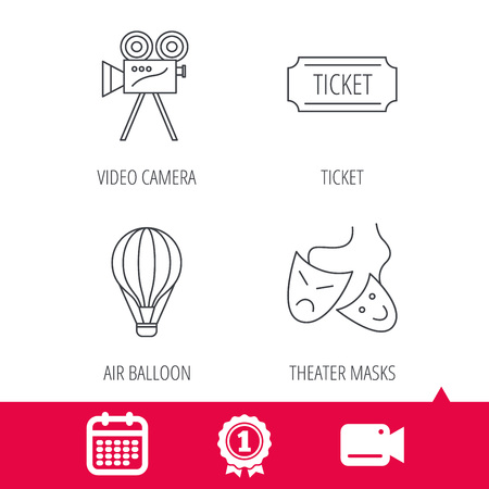 theatre masks: Achievement and video cam signs. Video camera, ticket and theatre masks icons. Air balloon linear sign. Calendar icon. Vector Illustration