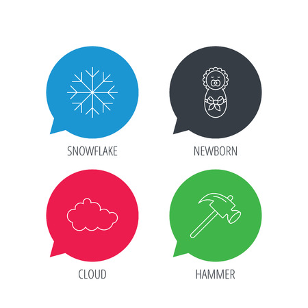 air hammer: Colored speech bubbles. Newborn, cloud and snowflake icons. Hammer linear sign. Flat web buttons with linear icons. Vector Illustration