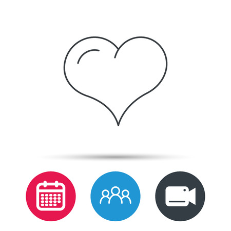 february 1: Love heart icon. Life sign. Group of people, video cam and calendar icons. Vector Illustration