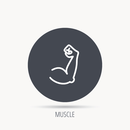circular muscle: Biceps muscle icon. Bodybuilder strong arm sign. Weightlifting fitness symbol. Round web button with flat icon. Vector