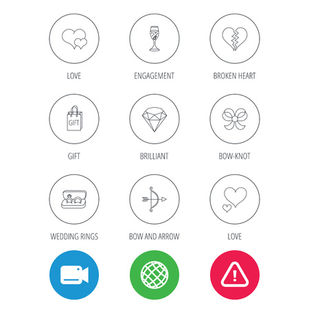 brilliant heart: Love heart, gift box and wedding rings icons. Broken heart and engagement linear signs. Valentine amour arrow, brilliant flat line icons. Video cam, hazard attention and internet globe icons. Vector