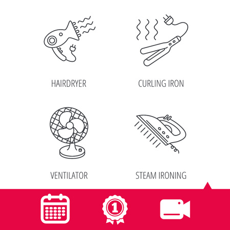 ironing: Achievement and video cam signs. Steam ironing, curling iron and hairdryer icons. Ventilator linear sign. Calendar icon. Vector Illustration