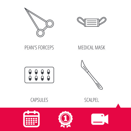 forceps: Achievement and video cam signs. Medical mask, capsules and scalpel icons. Peans forceps linear sign. Calendar icon. Vector