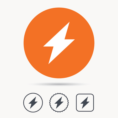 star power: Lightning icon. Electricity energy power symbol. Orange circle button with web icon. Star and square design. Vector Illustration