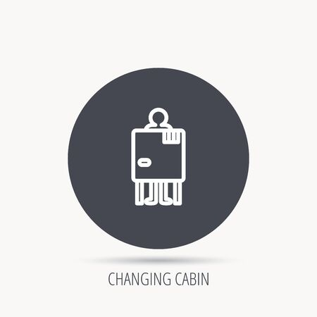 changing room: Beach changing cabin icon. Human symbol. Round web button with flat icon. Vector Illustration