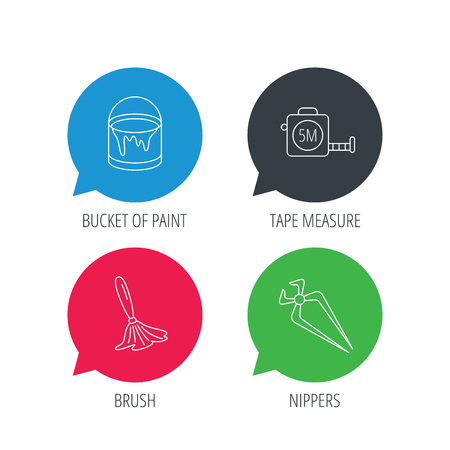 nippers: Colored speech bubbles. Tape measure, bucket of paint and paint brush icons. Nippers linear sign. Flat web buttons with linear icons. Vector Illustration