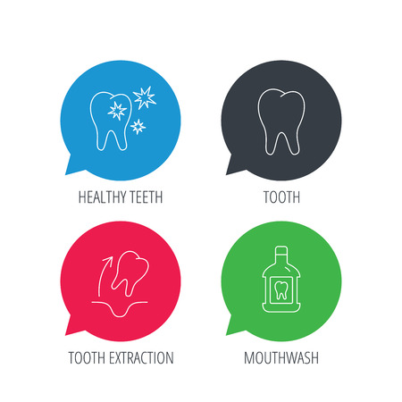 enjuague bucal: Burbujas del discurso del color. De dientes, enjuague bucal y dientes sanos iconos. La extracción del diente señal lineal. web planas botones con iconos lineales. Vector