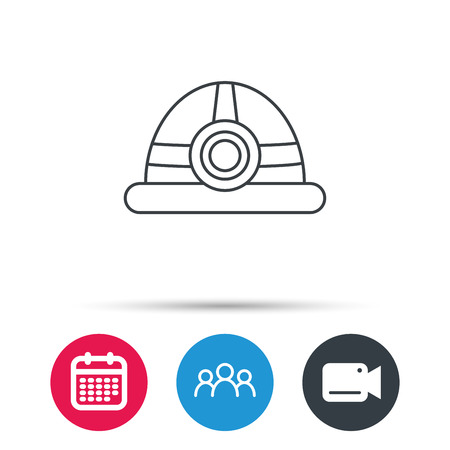 Engineering icon. Engineer or worker helmet sign. Group of people, video cam and calendar icons. Vector Illustration